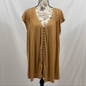 Free People Button Down Tunic Top Yellow Size M